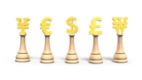 Geldschach mit goldenem Währungszeichen, Illustration 3D Lizenzfreies Stockfoto