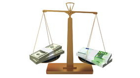 Geldskalen, -dollar und -Euro vektor abbildung