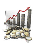 Geldstatistikdiagramm Stockbilder
