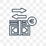 Geldstroom vectordiepictogram op transparante achtergrond, linea wordt geïsoleerd vector illustratie