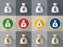 Geldtaschenikone eingestellt mit Währungszeichen Stockbilder