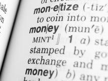 Geldtext Stockbild