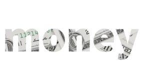 Geldtext vom Dollarschein auf weißem Hintergrund Stockbilder