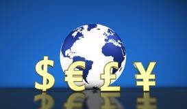 Geldumtausch-internationale Weltwirtschaft Stockfotos