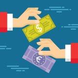 Geldumtausch-Konzept-Illustration im flachen Art-Design Menschliche Hände und Banknoten Stockfotos
