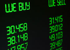 Geldumtausch-Rate Stockbild