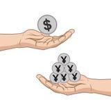 Geldumtauschdollar mit Yen Lizenzfreie Stockfotografie
