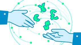 Geldumtauschkonverterillustrations-Vektorhintergrund Lizenzfreie Stockbilder