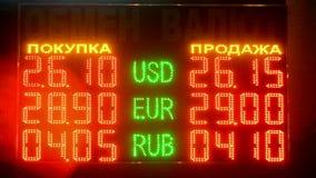 Geldumtauschrate auf geführter Anzeige unter Glas, Typenbezeichnungsverschiedenartigkeit, stock video
