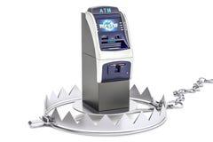 Geldval met ATM-machine, het 3D teruggeven Stock Foto's