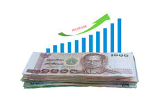 Geldverhoging met Tendens Bragraph Royalty-vrije Stock Afbeeldingen
