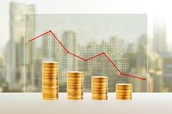 Geldverlies, Bedrijfsconcept Gouden Muntstukstapels Financiën neer Royalty-vrije Stock Afbeelding
