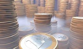 Geldvoorraad onder mist Royalty-vrije Stock Foto's