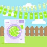 Geldwäsche in der Waschmaschinenillustration Stockfotos