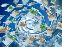 Geldwäscherei, Rotationhimmel auf dem Hintergrund Stockbilder
