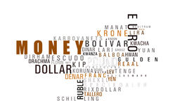 Geldwortwolke Stockfoto