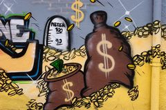 Geldzak en muntstukken - Graffiti Stock Afbeelding