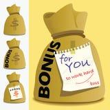 Geldzakken van bonus voor persoon om hard te werken Stock Afbeelding
