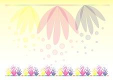 Gele achtergrond met bloemen Stock Afbeelding