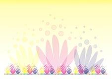 Gele achtergrond met bloemen 2 Stock Afbeeldingen