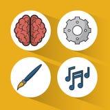 Gele achtergrond met kleurrijke gebieden met pictogrammen van hersenen en pignon en borstel en muzieknoten stock illustratie