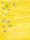 Gele achtergrond met kleurrijke vlinders Royalty-vrije Stock Foto