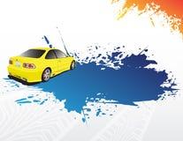 Gele auto en blauwe plons vector illustratie
