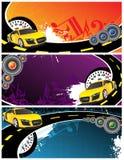 Gele auto en muziekachtergrond Stock Afbeeldingen