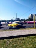 Gele auto, Havana, Cuba royalty-vrije stock afbeelding