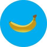 Gele banaan op blauw eenvoudig pictogram als achtergrond op witte achtergrond Stock Afbeelding