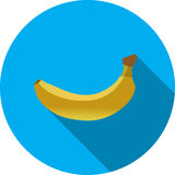 Gele banaan op blauw eenvoudig vectorpictogram als achtergrond op witte achtergrond Stock Foto