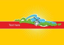 Gele banner met een molen op de achtergrond van het landschap royalty-vrije illustratie