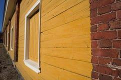 Gele barakken Stock Afbeeldingen