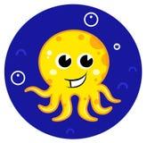 Gele beeldverhaaloctopus in overzees water Royalty-vrije Stock Fotografie
