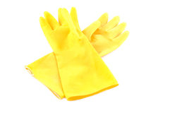 Gele beschermende handschoenen Royalty-vrije Stock Foto's