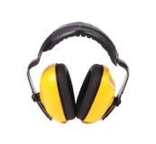 Gele beschermende oormoffen. Stock Afbeeldingen