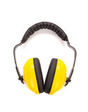 Gele beschermende oormoffen Stock Afbeeldingen