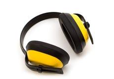 Gele beschermingshoofdtelefoons royalty-vrije stock foto