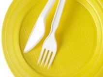 Gele beschikbare plaat Stock Afbeeldingen