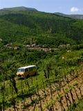 Gele bestelwagen in landschap Stock Foto