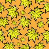 Gele bladerendaling Naadloos patroon Royalty-vrije Stock Foto