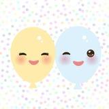 Gele blauw van Kawaii het grappige ballons met roze wangen en ogen op witte stipachtergrond Vector Royalty-vrije Stock Foto