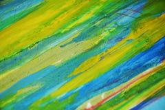 Gele blauwe contrasten, de creatieve achtergrond van de verfwaterverf Stock Foto