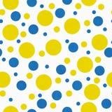 Gele, Blauwe en Witte Polka Dot Tile Pattern Repeat Background vector illustratie