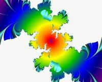 Gele blauwe fractal, het bloemrijke elegante fonkelen stelt lichten, textuur, abstracte achtergrond tegenover elkaar stock fotografie