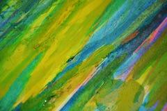 Gele blauwgroene fosforescerende oranje modderige contrasten, de creatieve achtergrond van de verfwaterverf Royalty-vrije Stock Afbeelding
