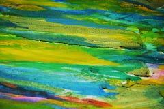 Gele blauwgroene oranje modderige contrasten, de creatieve achtergrond van de verfwaterverf Royalty-vrije Stock Foto's