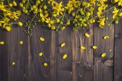 Gele bloem op houten achtergrond met ruimte met gestemde wijnoogst Stock Afbeelding