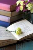 Gele bloem op open boek Stock Afbeelding