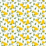Gele bloemen en groen bladeren naadloos patroon Stock Afbeelding